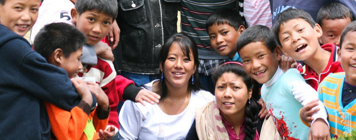 A group of children at Jhamtse Gatsal Children's Community, with their house-mothers.