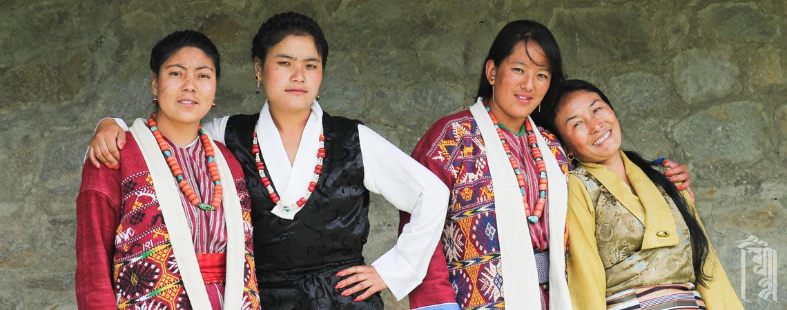 The Jhamtse Gatsal Ama las (housemothers) dressed up in traditional Monpa and Tibetan attire.