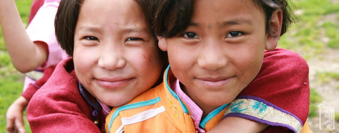 Happy, smiling Jhamtse Gatsal kids.